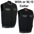 Black Denim Vest with Leather Trim & Gun Pockets (Wiith or Without Collar) - DM991/DM992