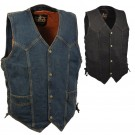 Classic Denim Biker Vest with Side Laces - DM1315