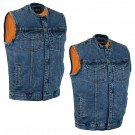 Blue Denim Single Panel Gun Pocket Vest With or Without Scoop Collar - DM981BU-DM989BU