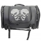 Reflective Skulls Roll Bag - Sissy Bar Bag